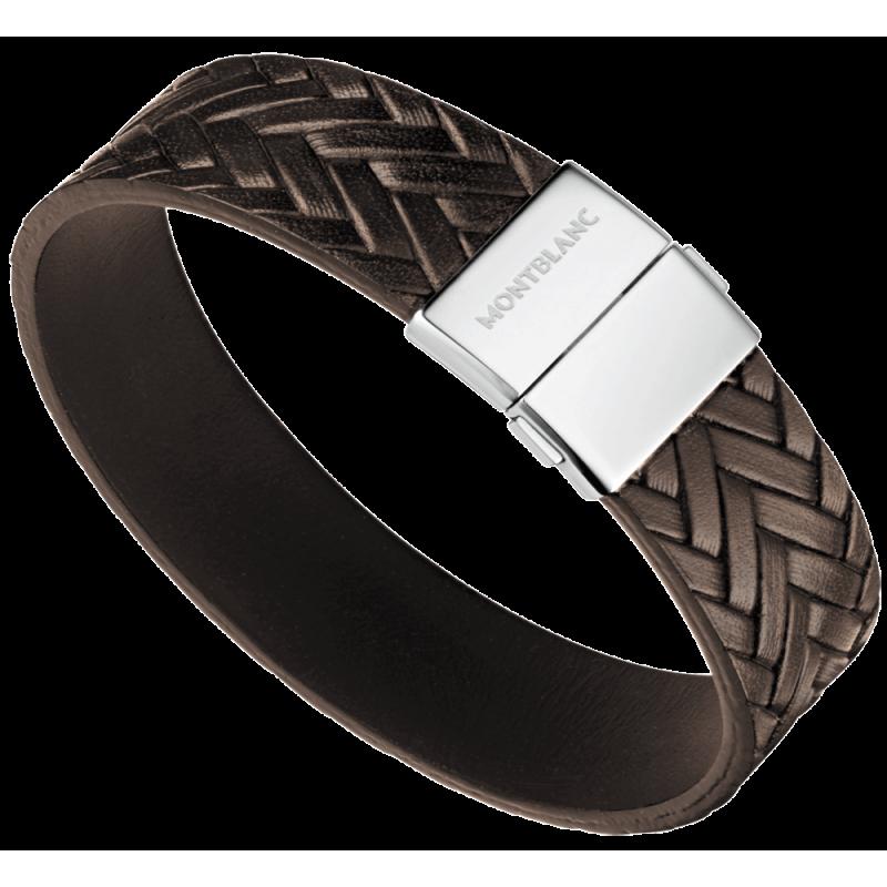 bracelet homme en cuir marron tress. Black Bedroom Furniture Sets. Home Design Ideas