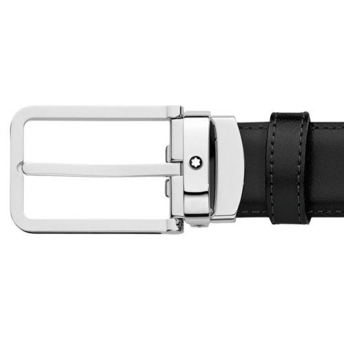 ceinture montblanc 118418 avec boucle rectangulaire et cuir lisse noir 1e746a47d72